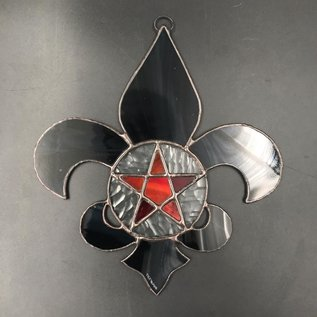 Hex Fleur De Lis Pentacle in Black Stained Glass