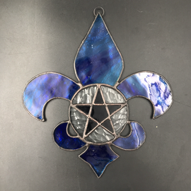 Hex Fleur De Lis Pentacle in Blue Stained Glass