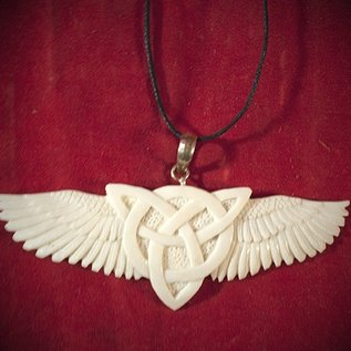 Hex Morrigans Wings Bone Triquetra Necklace