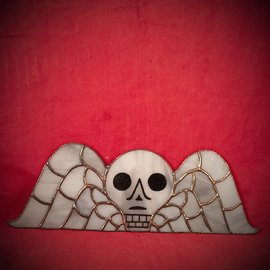 Hex Stained Glass Winged Gravestone Skull