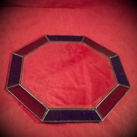 Hex 12 Inch Eight-Sided Mirror Featuring a 1 Inch Gold and Blue Border