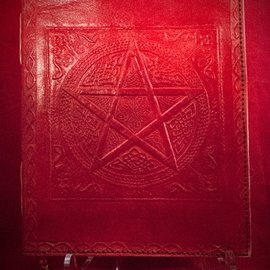 Hex Small Pentacle in Square Journal in Red