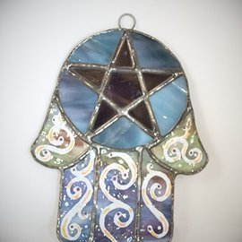 Hex Stained Glass Hamsa Pentacle in Rainbow Swirl and Blue Glass