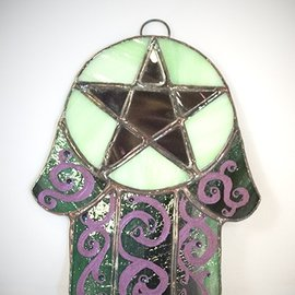 Hex Stained Glass Hamsa Pentacle in Purple and Green Glass