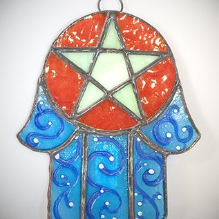 Hex Stained Glass Hamsa Pentacle in Blue and Green Glass
