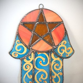 Hex Stained Glass Hamsa Pentacle in Teal and Orange Glass