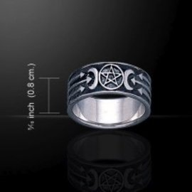 Hex Pentacle Ring with Three Arrows