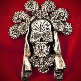 Hex Dia de los Muertos Wall Plaque in Silver Finish