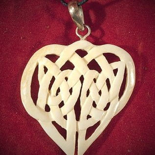 Hex Bone Knotwork Heart Necklace