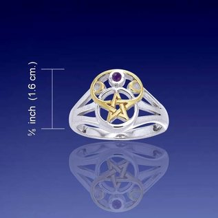 Hex Two Tone Pentacle Ring