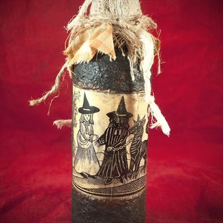 Hex The Witch's Familiar Woodcut Spell Bottle