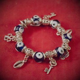 Hex Evil Eye Braclets Blue with Charms