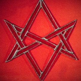 Hex Unicursal Hexagram Suncatcher in Red