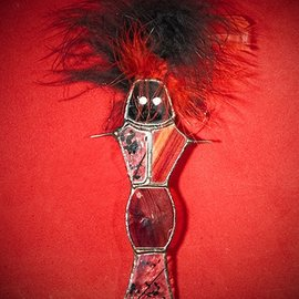 Hex Voodoo Doll Suncatcher in Black and Red