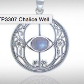 Hex Chalice Well Pendant with Rainbow Moonstone