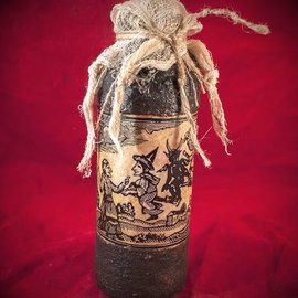 Hex Flying Witchery Woodcut Spell Bottle