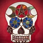 Hex Stained Glass Sugar Skull with Pentacle and Moons