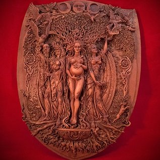 Hex Maiden Mother Crone Triple Goddess Plaque in Wood Finish