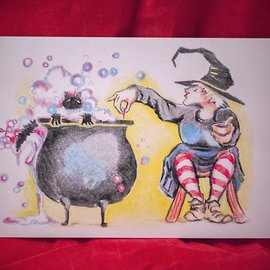 Hex What's Brewin'? Postcard by Sabrina the Ink Witch