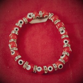 Hex Evil Eye Bracelet Red 4mm