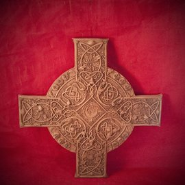 Hex Elemental Celtic Cross Plaque in Wood Finish by Maxine Miller