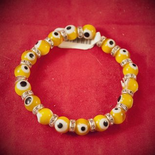Hex Evil Eye Bracelet Yellow 4mm
