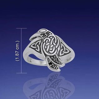 Hex Celtic Silver Raven Ring - Size 11
