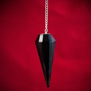 Hex Black Agate 12 Faceted Pendulum