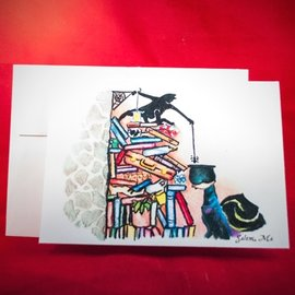 Hex Greeting Card - Just Here to Help by Sabrina the Ink Witch