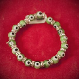 Hex Evil Eye Bracelet Green 4mm