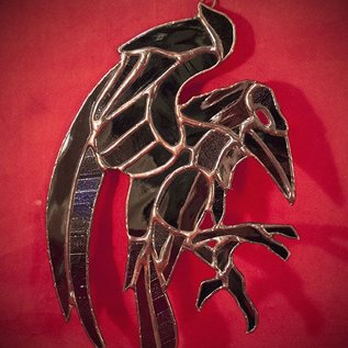 Hex Stained Glass Raven in Black and Blue