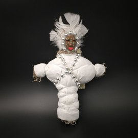 Hex New Orleans Swamp Witch Voodoo Doll in White