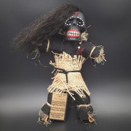 Hex Mama JuJu New Orleans Voodoo Doll. Black Doll with Brown Burlap Dress and Hair