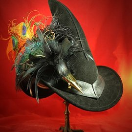 Hex Black Suede Broom Rider Hat (without buckle)