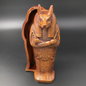OMEN Anubis Sarcophagus Box, Wood Finish - Made in Egypt at 12.5 Inches High
