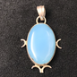 OMEN Blue Chalcedony Pendant with Moons
