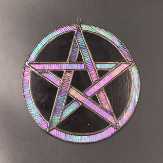 OMEN Stained Glass Pentacle in Purple and Iridescent