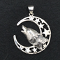 OMEN Baying Wolf and Moon Silver Pendant