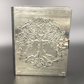 OMEN Small Detailed Celtic Knot Tree Journal with Metal Cover