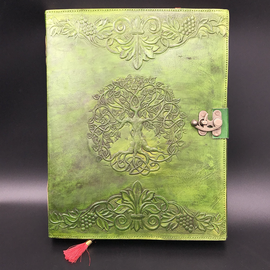 OMEN Large Detailed Celtic Knot Tree Journal in Green