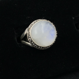 OMEN Round Rainbow Moonstone Ring