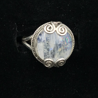 OMEN Round Rainbow Moonstone Ring with Spiral Detail