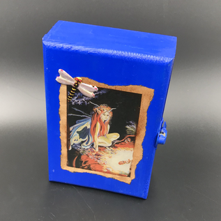 OMEN Royal Blue Fairy Tarot Box with Jeweled Dragonfly by Official Salem Witch Laurie Cabot