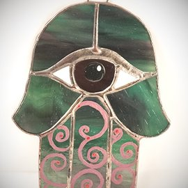 OMEN Stained Glass Hamsa Eye in Green and Purple