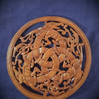 OMEN Celtic Beast Knot Wall Hanging in Mahogany