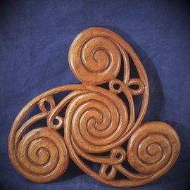 OMEN Celtic Triskel Wall Hanging in Mahogany