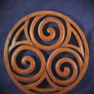 OMEN Celtic Triskel in Circle Wall Hanging in Mahogany