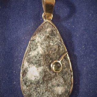 OMEN Preseli Bluestone Rough Hengestone Drop Pendant set in Solid Bronze with Peridot Cabachon