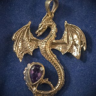 OMEN Solid Bronze Dragon Pendant with Faceted Amethyst