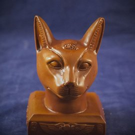 OMEN Cat Bast Head, Wood Finish - Made in Egypt at 4 Inches High